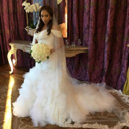 Wholesale Casual Beach Wedding Dresses Ruched - 2017 Newest Vintage Mermaid Off Shooulder Tulle Beach Casual Wedding Dresses Full Beading Tulle Crystal Bridal Wedding Gowns