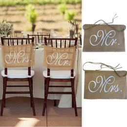 Wholesale Burlap Wedding Banners - Wholesale- 1 Set Mr and Mrs Burlap Chair Banner Set Chair Sign Garland Rustic Wedding Party Decoration