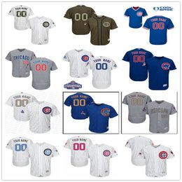 Wholesale Green Authentic - Custom New World Series Champions Patch Chicago Cubs Gold Gray White Blue Authentic Stitched Personalized Baseball Jerseys Customized S-4XL