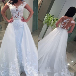 short sleeve lace capes Promo Codes - New Romantic Elegant A-line Wedding Dresses Sheer Cap Sleeves Lace Appliques Vestios De Novia Bridal Gowns with Capes Backless