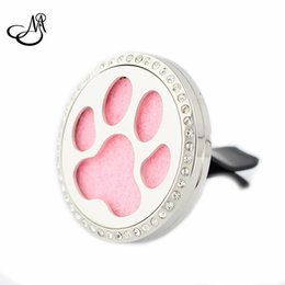 Wholesale Dog Magnets - 10pcs lots 35mm Magnet Rhinestone Dog Cat Paw Print Stainless Steel Aromatherapy Essential Oil Diffuser Locket Car Perfume Locket Jewelry
