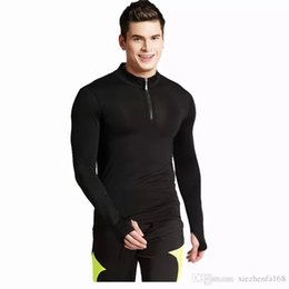 Wholesale Men Tight Clothes - Men's tight elastic fast-drying long-sleeved sports T-shirt men's leisure fitness clothes