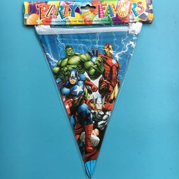 Wholesale Flag Items - Wholesale- 10pcs Avenger theme Cartoon Flags chilren happy Birthday Party Items For Kids favors Event Party Supplies Decoration