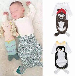 sac de couchage à manches longues Promotion Ins Baby Sleep Bag Cartoon Sirène Penguin Ours Coton Bébé Manches Longues Pépinière Literie 0-2 ans HY2099