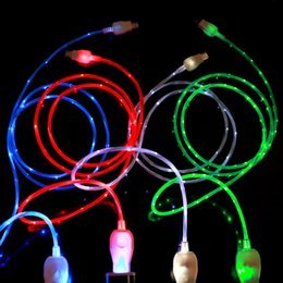 Wholesale Led Flow Lights - Flowing USB Cable Upgrade Extra Bright Brilliant LED Light Up Charging Data Cable Direction Flow Stream Opp Bag for android samsung phones