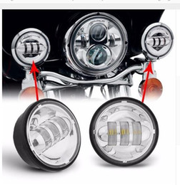 """Wholesale Motorcycle Lamp Led Auxiliary - wholesale 4.5 INCH Motorcycle Led Fog Lamp 4-1 2"""" 30W Chrome LED Auxiliary Fog Passing Light for Harley Daivdson"""
