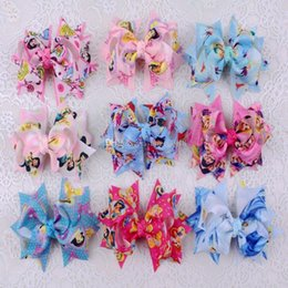 "Wholesale Princess Tinker - Frozen Cinderella snow white Tinker Bell olaf cartoon ribbons Anna princess 3"" Hair Bows clip accessories hairpins C1747"