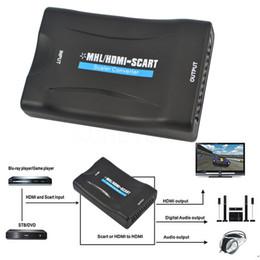 Wholesale Hdmi Scart Tv - 1080P HDMI to SCART Video Audio Upscale Converter AV Signal Adapter HD Receiver TV DVD US EU Power Plug High Quality