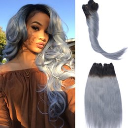Wholesale Two Full Heads Extensions - Full Head Clip In Human Hair Extensions Grey Straight Brazilian Virgin Hair Ombre Two Tone Color Dark Root To Grey Hair 120gram