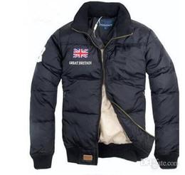 Wholesale Satin Jackets Men - New Stand Collar Warm US Flag Famous Pony Men Down jacket Fashion Appliques Zipper Outerwear POL0 sports cotton Horse Parkas coats
