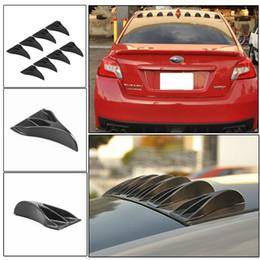 Wholesale Universal Spoilers - 8 pcs Carbon Fiber Look Universal Vortex Generators Roof Shark Fins Spoiler Wing Kit Black for Car Truck SUV
