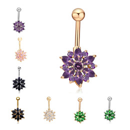 Wholesale Flower Dancers - 10 Colors for Option Anti-Allergic Cute Flowers Belly Button Rings CZ Women Sexy Body Jewelry Dangle Navel Body Piercing Jewelry for Dancers