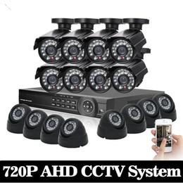 Kit dvr de vigilância por vídeo on-line-1 TB HDD 1.0MP HD 2000TVL câmera bala de segurança CCTV Kit Sistema de 16 canais AHD Full 720 P Vídeo Vigilância 1080 P DVR sistema NVR