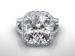 Wholesale Diamond Ring Solitaire 14k Gold - WOMEN DIAMOND RING HALO 5.5 CT 14K WHITE GOLD PROPOSAL VVS1 D