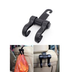 Wholesale Double Hook Clip - New Double Auto Car Back Seat Headrest Hanger Holder Hooks Clips For Bag Purse Cloth Grocery Automobile Interior Accessories