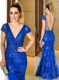 Wholesale Event Dresses Short - Elegant Royal Blue Evening Dress High Quality Lace Tulle Open Back Prom Party Dress Short Sleeve Formal Event Gowns