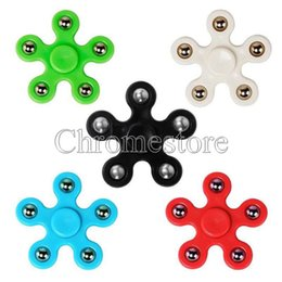 Wholesale Cool Toys For Big Kids - Cool Gyro Finger Spinner Fidget 5 Corner Stars Plastic Steel Ball EDC Hand Spinners For Relieve Stress Anxiety Toys & Gifts with OPP bag