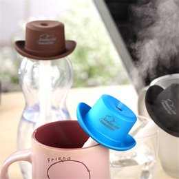 Wholesale Cowboy Oil - Mini Cowboy hat USB Aromatherapy Air humidifier With Carve Design Ultrasonic Aroma Diffuser mist maker essential oil diffuser