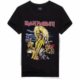 Wholesale Metal Cotton - Men Tshirt Homme 2017 Iron Maiden T shirt Brand 3D Print Black Man Metal Shirt Hip Hop Men's T-shirts Cotton Casual Short Sleeve
