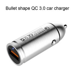 Wholesale Materials For Mobile - PHone car charger USB port cell accessories QC3.0 universal bullet shape stainless steel material mobile tablet adapter chargers