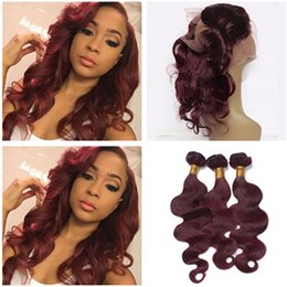 Wholesale Red Hair Wefts - Pre Plucked 360 Lace Frontal Closure With 3Bundles #99J Burgundy Wine Red Brazilian Body Wave Human Hair Wefts With 360 Closure 4Pcs Lot