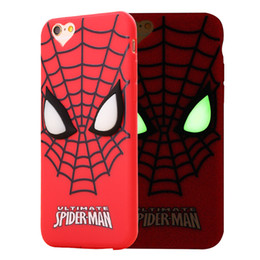 Wholesale Cover Minion Iphone - Cute Cartoon Lovely Minions Baymax Spider-man Case For iphone 5 5s 6 6s 7 Soft TPU 3D Luminous back Cover For iphone 6 7 Plus Accessories