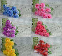 """Wholesale Wholesale Rose Bouquets - 100pcs Roses Artificial 7 colors Silk Flower Wedding Bridal Bouquet Home Decoration 2.3"""""""