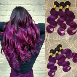 Wholesale purple human hair - 3Pcs Lot Brazilian Ombre Human Hair Extensions #1B Purple Dark Roots Two Tone Hair Weaves Body Wave Wavy Virgin Hair Wefts 3 Bundles