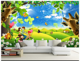 giraffe fabrics Canada - 3D photo wallpaper custom size mural non-woven wall 3D Landscape Romantic Cartoon Giraffe Background Wall 3D Mural wallpaper Free shipping