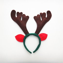 Wholesale Reindeer Bells - Deer antler headband antler christmas horn headband with ears Christmas Headwear reindeer antlers jingle bells hair band