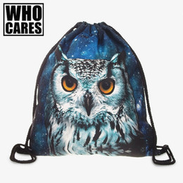Wholesale Drawstring Backpack Animals - Wholesale- Animal Prints 3D Printing Women Backpack 2016 New Fashion Hot Womens Backpacks Bags Drawstring Bag school bags for teenagers