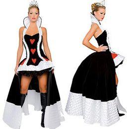 2019 doncella de goma 2017 Best Price Classic Style Long Mujeres Sexy Disfraz de Halloween Encantador Reina de Corazones Traje de Juego