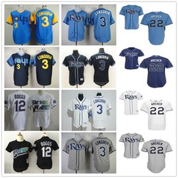 Wholesale Tampa Bay Rays Baseball Jerseys Evan Longoria Chris Archer Blank Wade Boggs Throwback Blue White Gray Jersey