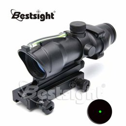 Wholesale Illuminated Riflescopes - Trijicon ACOG Style 1X32 Red Dot Sight Fiber Optics Green Dot Illuminated Sight Hunting Scopes Riflescopes with Picatinny Mount