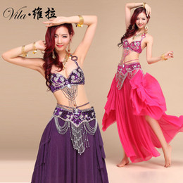 Dança indiana trajes on-line-Novo Estilo Traje de Dança Do Ventre S / M / L 3 pcs BraBeltSkirt Sexy Dança mulheres dança roupas Conjunto bellydance desgaste Indiano para senhora