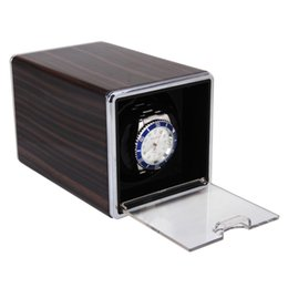 Wholesale Single Watch Display - Wholesale-High Quality Brown Rectangle Automatic Single Watch Winder Mute Display Box Gift