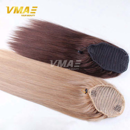 Wholesale 18 Blonde Ponytail - Straight human Ponytail hair Natural Non Remy Hair horsetail tight hole Clip In Drawstring Ponytails Hair Extensions