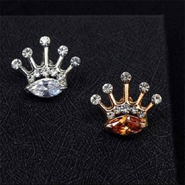Wholesale Hot Sale Crown Brooch - Wholesale- 2016 New Hot Summer Style Brooch Jewelry Factory Sale Crystal Brooches Pins For Women Inlay Crystal Crown Shirt Collar Brooch
