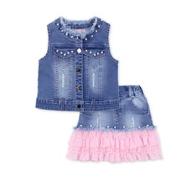 Wholesale Jean Jacket Beads - Wholesale- 2016 fashion summer children clothing sets bead baby girl boutique outfits sleeveless jean jackets lace Denim skirts clothes