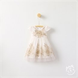 Wholesale Embroidered Dress Short - Spring Kids Girls Lace tutu Dresses Baby Girl Embroidered Floral Dress Girl Princess Party Dress 2017 Babies Korean Clothing