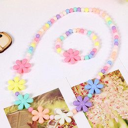 Wholesale China Baby Accessories Wholesale - New Sale Candy Color Beads Gift for Child Flower Necklace Bracelets Princess Baby Girl Jewelry Set Kid Choker Accessories T137