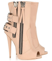 Sapatos de fivela dupla preta on-line-Estilo de verão moda feminina preço Barato nu preto aberto dedo duplo zíper ponto botas de salto fivela cinta graciosa sapatos