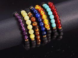 Wholesale Gemstone Beaded Bracelet - Top Plaza Men Women 8mm Lava Rock Beads Chakra Bracelet Black Healing Energy Stone Gemstone Bracelet
