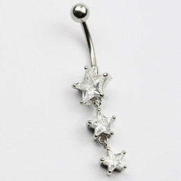 Wholesale ring star - D0614 ( 1 color ) clear color belly ring nice stars style belly ring with piercing body jewlery navel belly ring body jewelry