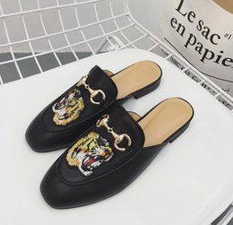 Wholesale Slippers For Boys - 2017 New Arrival Summer Thick Soled Mens Slippers Great Printing Leather Sandals for Boys with women free Shipping