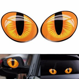 Wholesale Funny Car Graphics Stickers - Wholesale- Pair 3D Funny Reflective Cat Eyes Car Stickers Truck Head Engine Rearview Mirror Window Cover Door Decal Graphics 10 x 8cm