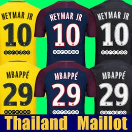 Wholesale Men S Shirts Tops - Top thai quality Maillot MBAPPE NEYMAR JR soccer jerseys 2018 VERRATTI CAVANI DANI ALVES PASTORE jersey 17 18 AURIER soccer shirt DRAXLER