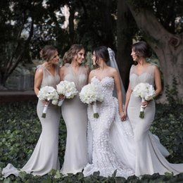 Wholesale Cheap Garden Lighting - Elegant Sheer Tulle Mermaid Bridesmaid Dresses For Western Country Garden Weddings 2017 Cheap Maid of Honor Gowns Evening Dresses