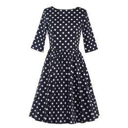 Wholesale Tea Length Cotton Casual Dresses - Women's Vintage Audrey Hepburn 1950s 3 4 Sleeve Polka Dots Tea Casual Slim Elegant Rockabilly Party Cocktail A-Line Dress