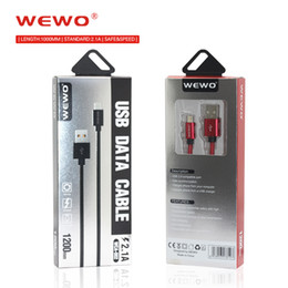 Wholesale Nylon Charger - WEWO Charger Cable For Iphone X 2.1A Wholesale Red Type-C Cable USB Braided Nylon Black Micro USB Cables For mobile phones cell phones